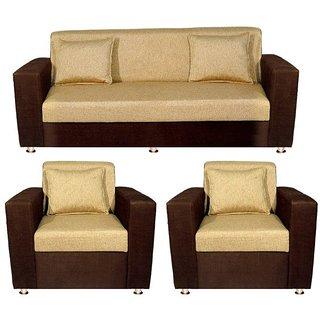 Bharat Lifestyle   Lexus Golden Brown Sofa Set (3+1+1)