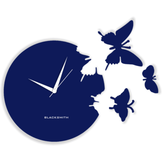 Blacksmith Beautiful Butterfly Clock - NBS 920 DARK BLUE