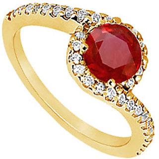 Lovebrightjewelry Ravishing 14K Yellow Gold Ruby & Diamond Engagement Ring-0.75 Ct