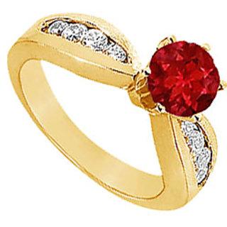 Lovebrightjewelry 14K Yellow Gold Ruby & Diamond Modish Engagement Ring-1.00 Ct