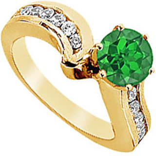 Lovebrightjewelry Trendy 14K Yellow Gold Emerald & Diamond Engagement Ring-1.50 Ct