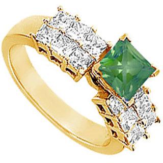 Lovebrightjewelry Trendy 14K Yellow Gold Emerald & Diamond Engagement Ring-1.75 Ct