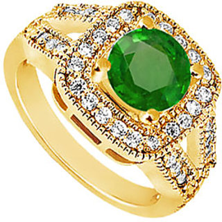 Lovebrightjewelry Chic 14K Yellow Gold Emerald & Diamond Engagement Ring