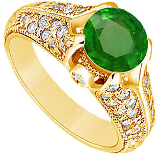 Lovebrightjewelry Lovely 14K Yellow Gold Emerald & Diamond Engagement Ring-1.00 Ct