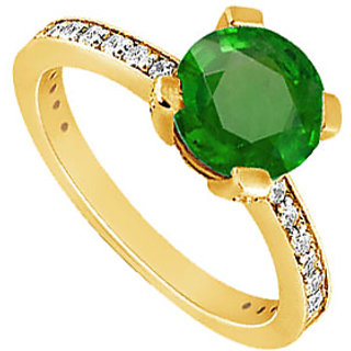 Lovebrightjewelry 14K Yellow Gold Alluring Emerald & Diamond Engagement Ring