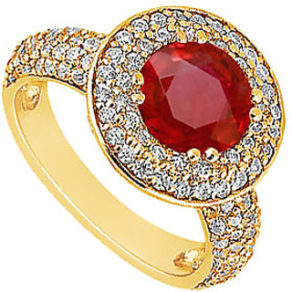 Lovebrightjewelry 14K Yellow Gold Modish Ruby & Diamond Engagement Ring-1.25 Ct