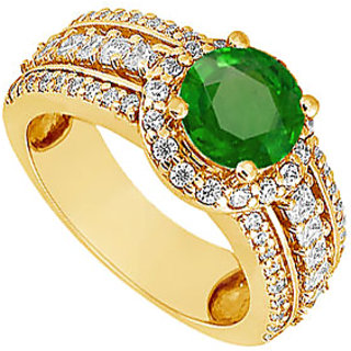 Lovebrightjewelry 14K Yellow Gold Emerald & Diamond Ravishing Engagement Ring