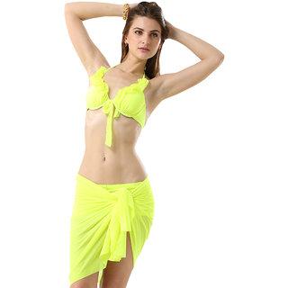 Chic And Modish Magic Mint Ruffled Halter Stylish 3-Piece  Bikini Set With Incredible Wrap