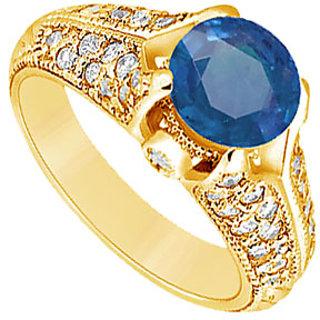 Lovebrightjewelry 14K Yellow Gold Sapphire & Diamond Angelic Engagement Ring