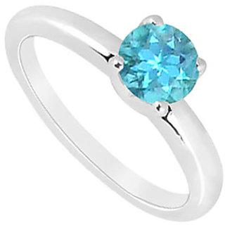 Lovebrightjewelry Blue Topaz Ring 14K White Gold-1.00 Ct