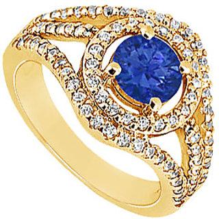 Lovebrightjewelry 14K Yellow Gold Sapphire & Diamond Swank Engagement Ring-1.25 Ct