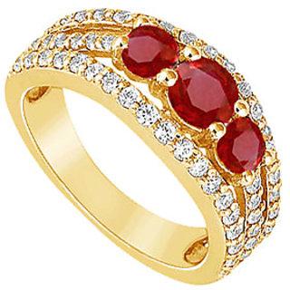 Lovebrightjewelry 14K Yellow Gold Ruby & Diamond Engagement Ring-2.25 Ct
