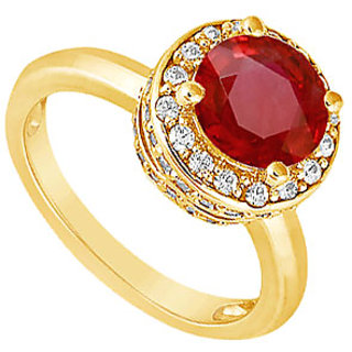 Lovebrightjewelry 14K Yellow Gold Voguish Ruby & Diamond Engagement Ring-1.00 Ct