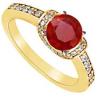 Lovebrightjewelry 14K Yellow Gold Ruby & Diamond Engagement Ring-1.25 Ct