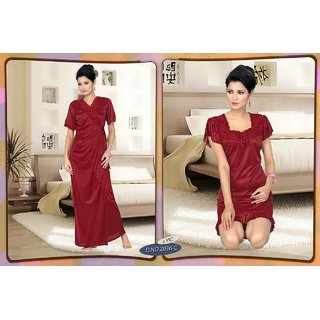 0b3b871c54 Womens Sleepwear 2pc Babydoll Over coat 2036C Daily Night Dress Robe Set  Maroon Lounge Wear Bed