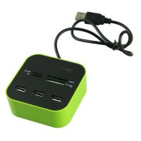 All In One COMBO 3 Port Usb Hub With Multi Card Reader Green