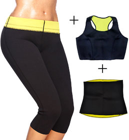 Gold Dust Combo of Pant + Top + Belt Slimming Sweat shapewear