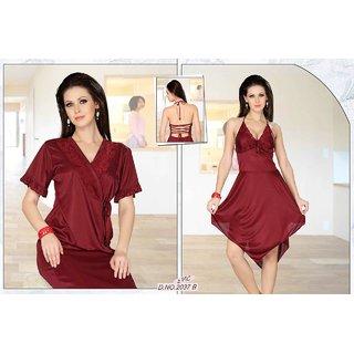 2c4c37f97ca2 Womens Sleepwear 2pc Babydoll Over coat 2037B Daily Night Dress Robe Set Maroon  Lounge Wear Bed room Nightie