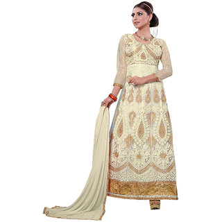 Trendz Apparels White Embroidered 2 In 1 Lehenga Aur Anarkali Suit VS4216