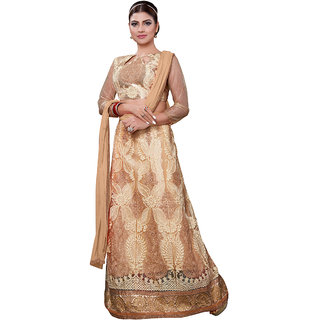 Trendz Apparels Beige Embroidered 2 In 1 Lehenga Aur Anarkali Suit VS4217