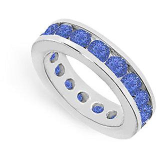 Lovebrightjewelry Voguish 14K White Gold & Blue Sapphire Eternity Band 4.00 Ct
