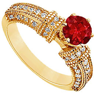 Lovebrightjewelry Chic 14K Yellow Gold Ruby & Diamond Engagement Ring-1.00 Ct