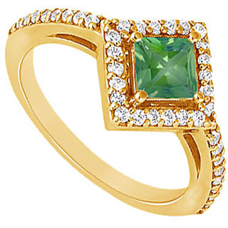 Lovebrightjewelry Trendy 14K Yellow Gold Emerald & Diamond Engagement Ring-1.00 Ct