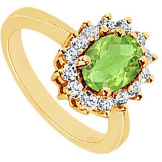 Lovebrightjewelry Peridot & 14K Yellow Gold Diamond Ring-1.50 Ct
