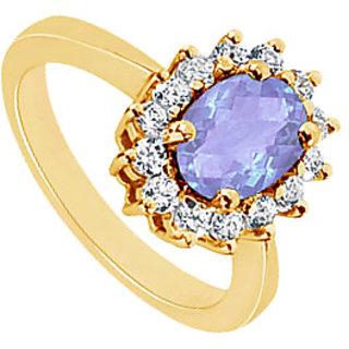 Lovebrightjewelry Tanzanite & 14K Yellow Gold Diamond Ring-1.50 Ct