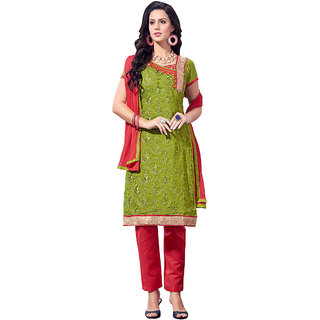 Trendz Apparels Green Embroidered Dress Material With Matching Dupatta TAMFAG25104