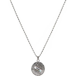 The99Jewel Silver Plated Circular Chain Pendant - AAB0400