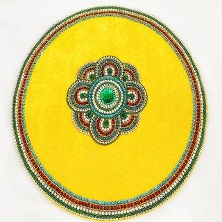 designer yellow color handmade thali