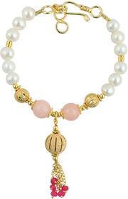 Pearlz Ocean White Freshwater Pearl, Pink Dyed Quartzite And Pink 7 inch Bracelet with Extension
