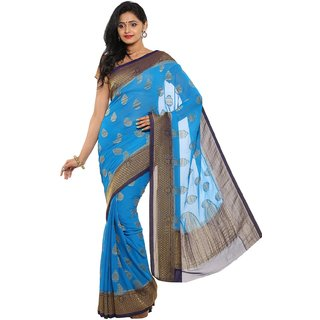 sudarshansilk Blue Chiffon