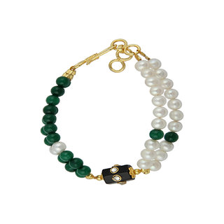 Pearlz Ocean White Freshwater Pearl And Green Jade Double Strand 7 inch Bracelet with Extension