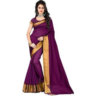 Laxmi Purple Aariwork Cotton