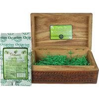 Octavius 200gms Whole Leaf Darjeeling Tea in Carved Wooden Gift Box