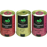 Combo of 3 Octavius Whole Leaf Tea (Assam, Darjeeling, Green) in Premium Gift Cans