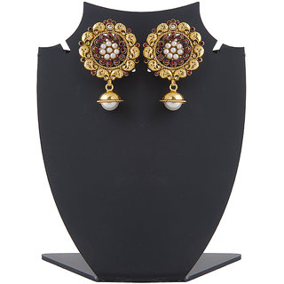 Inaya Crystal Gold Plated Maroon Dangle Earrings For Women-ERBF41