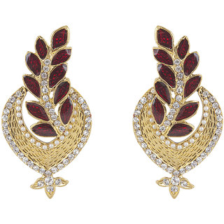 Inaya Crystal Gold Plated Red Dangle Earrings For Women-ERAK2117