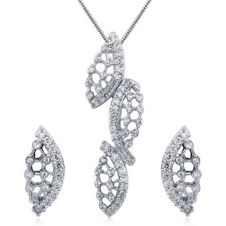 Inaya Crystal Gold Plated White Pendant With Chain Only For Women-PsA52