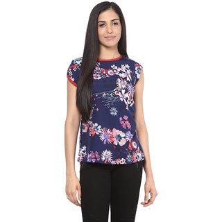 Shakumbhari Blue Floral Print Round Neck Half Sleeve Crepe Top