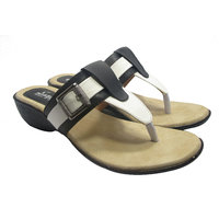 SAMMY Womens White And Black Casual Wedges Slip-On