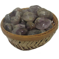 Amethyst Pebbles In Basket For Reiki Crystal Chakra Healing Meditation