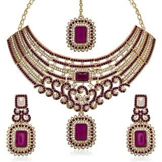 Kriaa Alloy Purple Ethnic Necklace Set -1105308