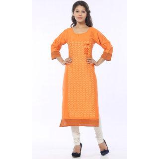 Satrangi Orange Sober Rayon Flex Kurti