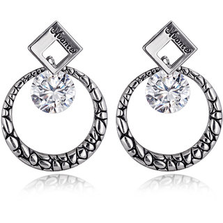 Spargz Circle Silver Plated Black Classic Office Wear  Earrings For Women AIER 622