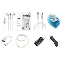 COMBO OF (8) EIGHT MOBILE ACCESSORIES HIGH QUALITY STEREO HEADSETS FOR SAMSUNG MOBILES + FAST CHARGING USB DATA CABLE + UNIVERSAL MULTI CARD READER + UNIVERSAL BATTERY CHARGER + AUX CABLE + PHONE GRIP + SIM CARD ADOPTOR + OTG CABLE. - 98873318