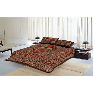 Jaipuri Kantha Work Embroidered Bed Sheet With 2 Pillow Covers