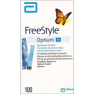 100 Test Strips For FreeStyle Optium H Xceed meter